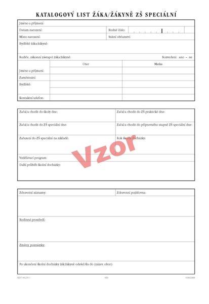 Katalogový list žáka pro ZŠ speciální - kartonové desky 550 x 320 mm