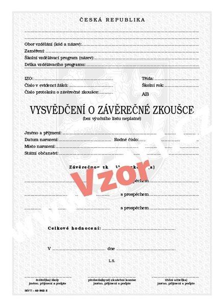 Vysvědčení o závěrečné zkoušce (střední vzdělání s výučním listem) - list 210×287