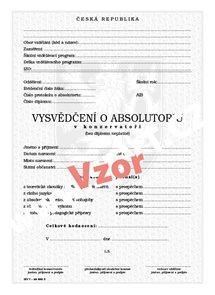 Vysvědčení o absolutoriu v konzervatoři zahrnující zkoušku z cizího jazyka