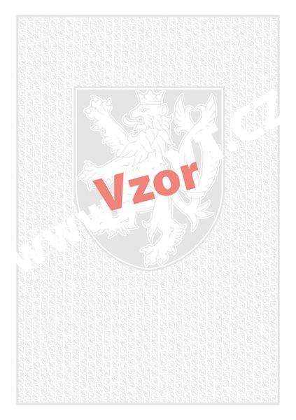 Bianco A3 - malý státní znak + lipové listy - list 420x297, nafalcovaný na půl, vodoznak, oboustranný potisk