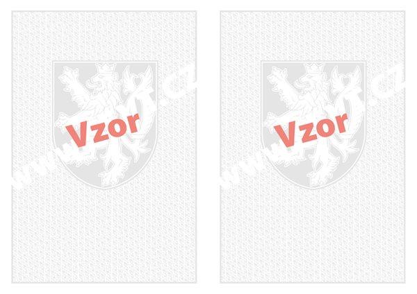 Bianco vysvědčení A3 - malý státní znak + lipové listy - 420×297, nenafalcovaný, vodoznak, oboustranný potisk (4 státní znaky)