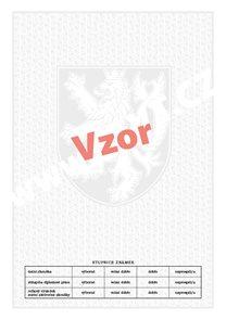 Bianco A4 - malý státní znak +  lipové listy + stupnice známek