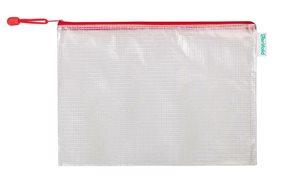 Obálka se zipem A4, PVC síťovina - červená