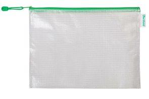 Obálka se zipem A4, PVC síťovina - zelená