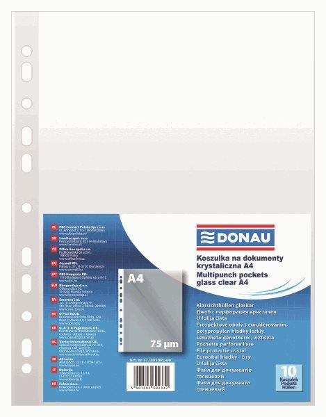 """Donau Zakládací obal """"U"""" A4 s euroděrováním, PP 75 mic hladký, 10 ks"""