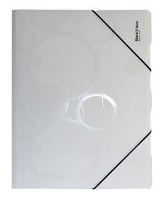 Karton Black & White Desky s gumou PP 3 klopy A4 - bílá