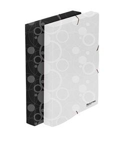 Karton Black & White Krabice na spisy A4 3 klopy s gumou - černá