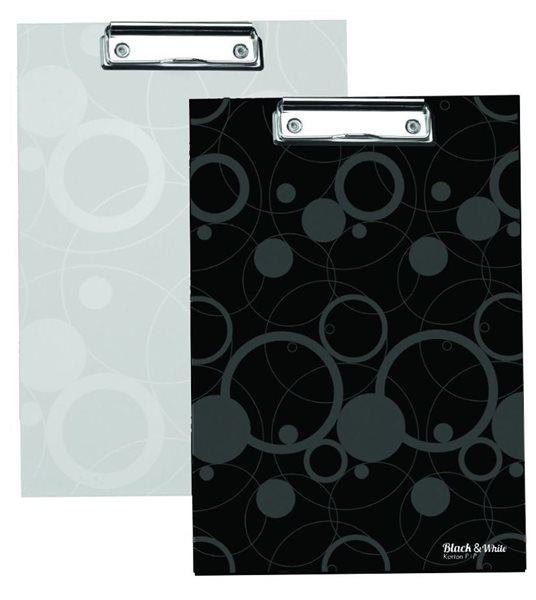 Karton Black & White Psací podložka s klipem - černá
