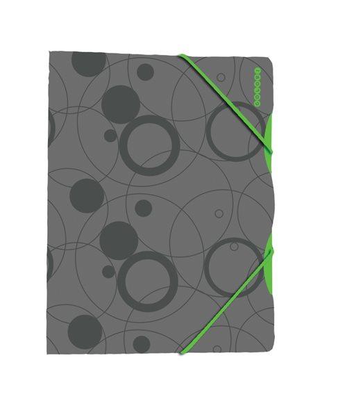 Karton Colori Desky s gumou PP 3 klopy A4 - šedo/zelený