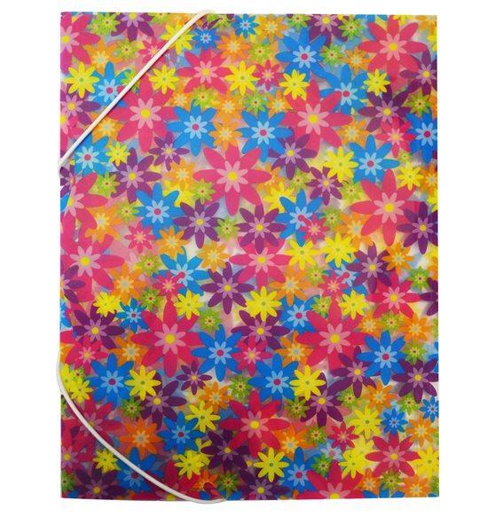 Karton PP Desky s gumou 3 klopy A4 - Květy