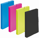 Krabice na spisy A4 3 klopy s gumou neprůhledný PP - růžová/magenta