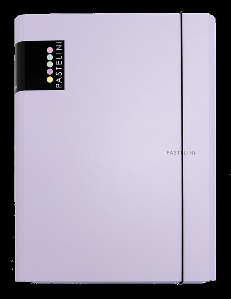 Karton PP PASTELINi Desky s gumou A4 3 klopy, lamino - fialová