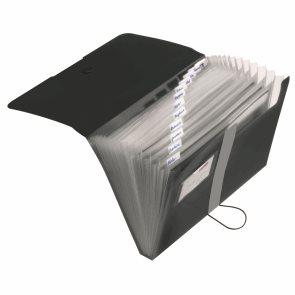 Herlitz Spisové desky A4 PP organizační, 12 přihrádek - černé