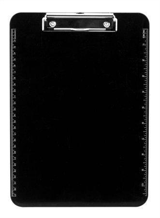 Victoria Psací podložka s klipem A4 s pravítkem po stranách - černá