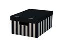 HIT Úložná krabice s víkem 28x37x18 cm 2 ks - černá/pruhy