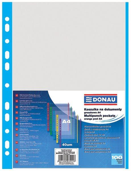 """Donau Zakládací obal """"U"""" A4 s euroděrováním 100 ks matný 40 mic - modrý, Sleva 21%"""