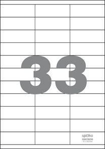 Spoko Samolepicí etikety A4 100 listů - 70 × 25,4 mm