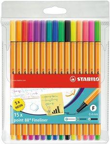 STABILO point 88 Jemný liner - sada 15 barev