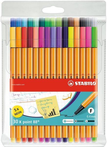 STABILO point 88 Jemný liner - sada 30 barev