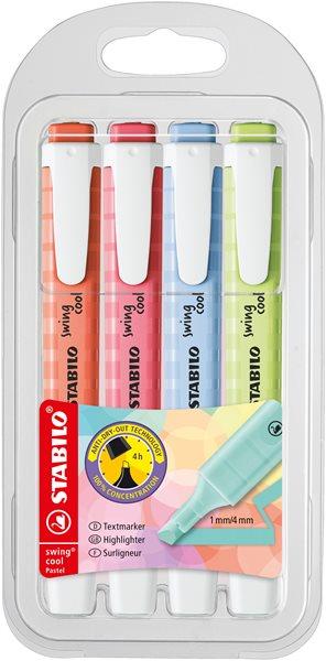 STABILO swing cool Pastel Zvýrazňovač - sada 4 barev (nové barvy)