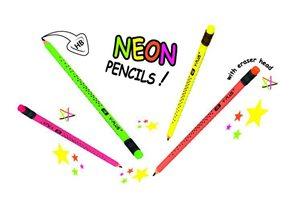 Grafitová tužka STAR NEON trojhranná s gumou, 6 ks
