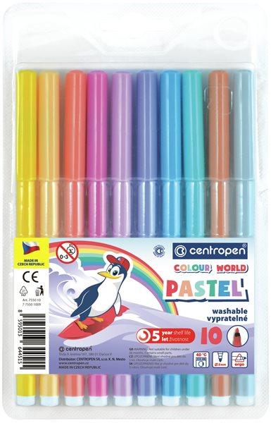 Centropen Popisovač COLOUR WORLD 7550 trojboký - sada 10 pastelových barev