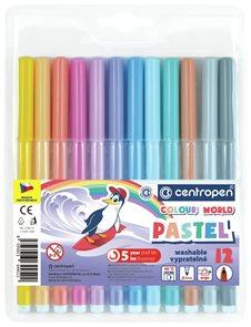 Centropen Popisovač COLOUR WORLD 7550 trojboký - sada 12 pastelových barev