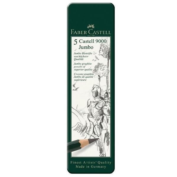 Grafitová tužka Faber-Castell 9000 Jumbo plechová krabička 5ks
