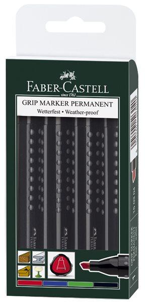Popisovač permanentní Faber-Castell Grip - sada 4ks