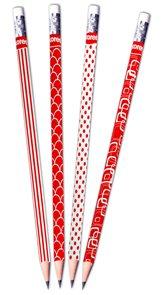 Kores Tužka červeno/bílá (číslo 2) trojboká - mix barev
