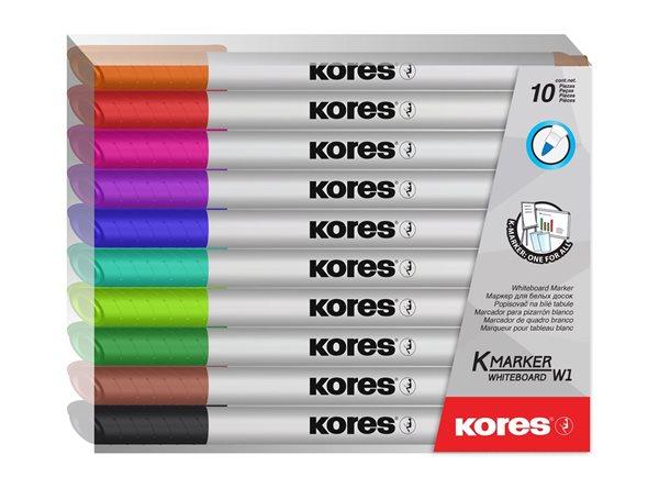 Kores Popisovač na bílé tabule kulatý hrot tenký - sada 10 barev