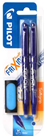 Pilot FriXion Ball Roller 0,7 mm modrý - balení 2ks + guma