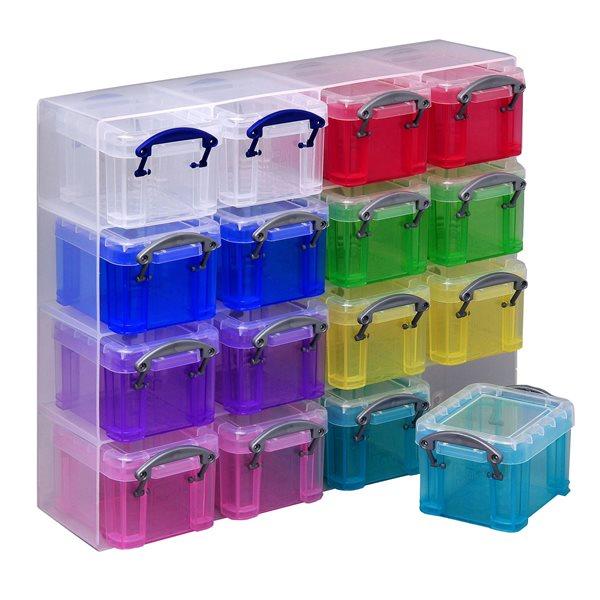 Plastový úložný box s víkem, 16x 0,14 l, barevná sada