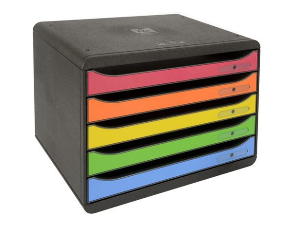 Zásuvkový box Plus duhový, plastový, 5 přihrádek