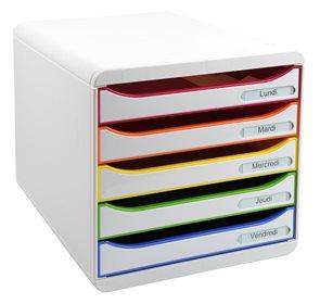 Zásuvkový box Plus duhový, plastový, 5 přihrádek, A4 maxi na výšku - bílý