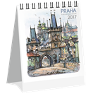Kalendář stolní 2017 - Praha akvarel micro