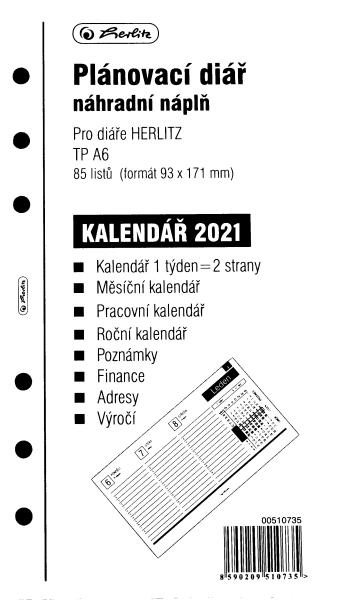 Herlitz Náplň do diáře A6, 84 listů, TP česká 2021