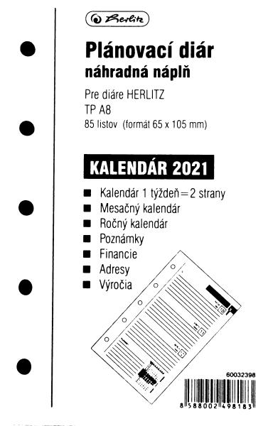 Herlitz Náplň do diáře A8, 84 listů, TP česká 2021