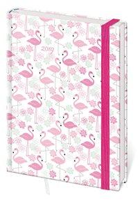 Stil Diář 2019 LYRA B6 týdenní s gumičkou - Flamingo / plameňáci