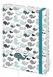 Stil Diář 2019 LYRA A5 denní s gumičkou - Whales / velryby