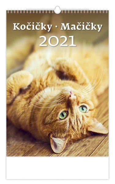Kalendář nástěnný 2021 - Kočičky/Mačičky - 31,5x45 cm