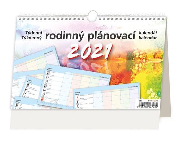 Kalendář stolní 2021 - Týdenní rodinný plánovací kalendář - 22,6 x 13,9 cm