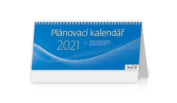 Kalendář stolní 2021 - Plánovací kalendář MODRÝ - 30,1 x 13,5 cm