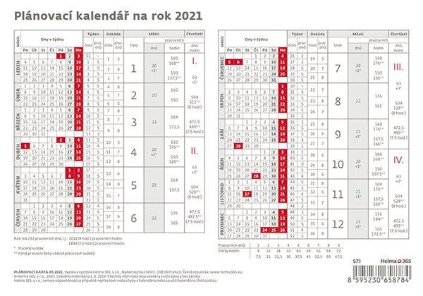 Kalendář stolní 2021 - Plánovací karta - 21,1 x 14,8 cm