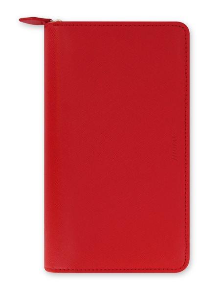 Filofax Kroužkový diář 2022 Saffiano osobní compact zip - červený - 208 x 125 x 31 mm