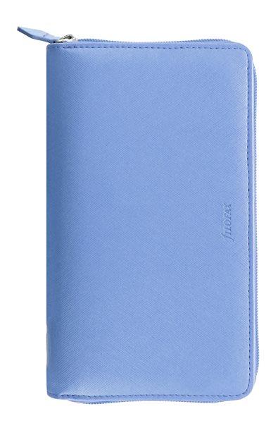 Filofax Kroužkový diář 2022 Saffiano osobní compact zip - sv.modrý - 208 x 125 x 31 mm