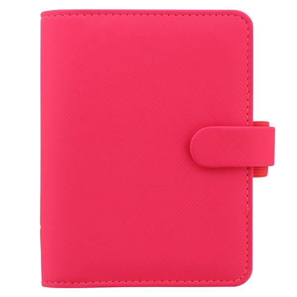 Filofax Kroužkový diář 2021 Saffiano Fluoro kapesní - růžový
