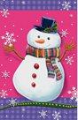 Stil Vánoční sáček s křížovým dnem 24,5×38 cm - Sněhulák, růžová s vločkami