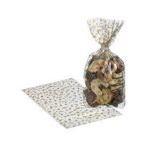 Dárkové sáčky 14,5 × 23 cm, 10 ks - Zlaté hvězdičky