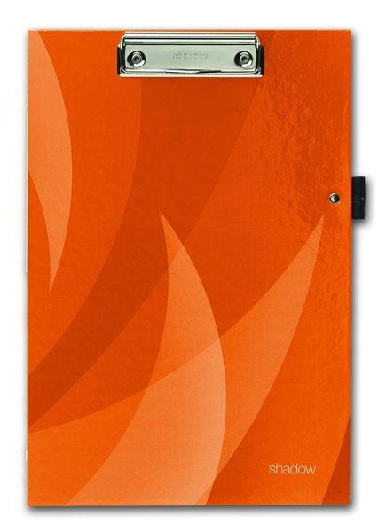 PP Psací podložka A4 s klipem a úchytem na tužku Shadow - oranžová